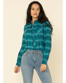 North River Women's Biking Plaid Long Sleeve Western Flannel Shirt , Teal, hi-res