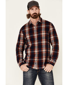 Flag & Anthem Men's Ruston Stretch Plaid Long Sleeve Western Flannel Shirt , Navy, hi-res
