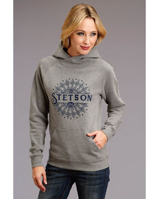 Stetson Women's Sunburst Hoodie Sweatshirt , Grey, hi-res