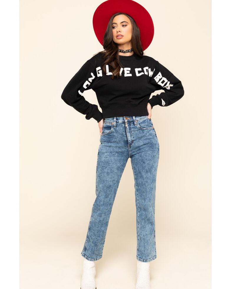 Wrangler Modern Women's Black Long Live Cowboys Cropped Pullover, Black, hi-res
