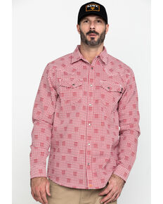 Cody James Men's FR Geo Print Long Sleeve Work Shirt , Red, hi-res