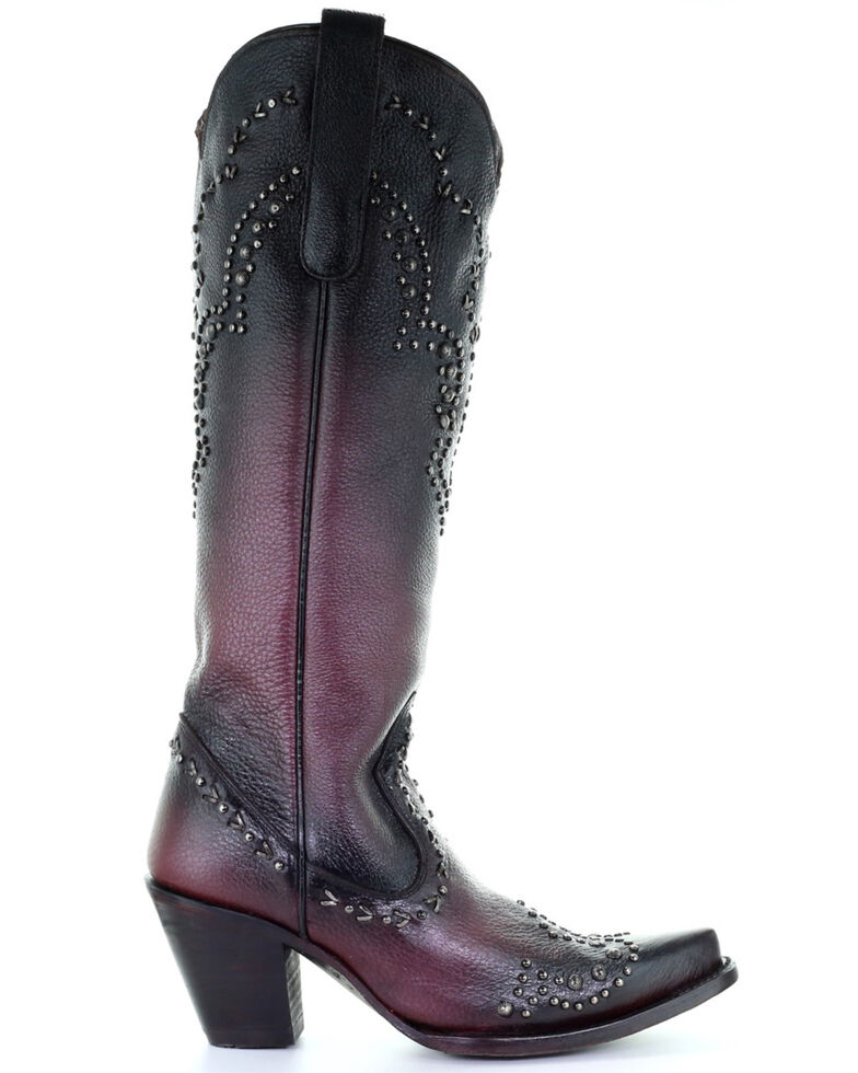 Corral Women's Wine Studded Tall Top Leather Western Boot - Snip Toe , Wine, hi-res