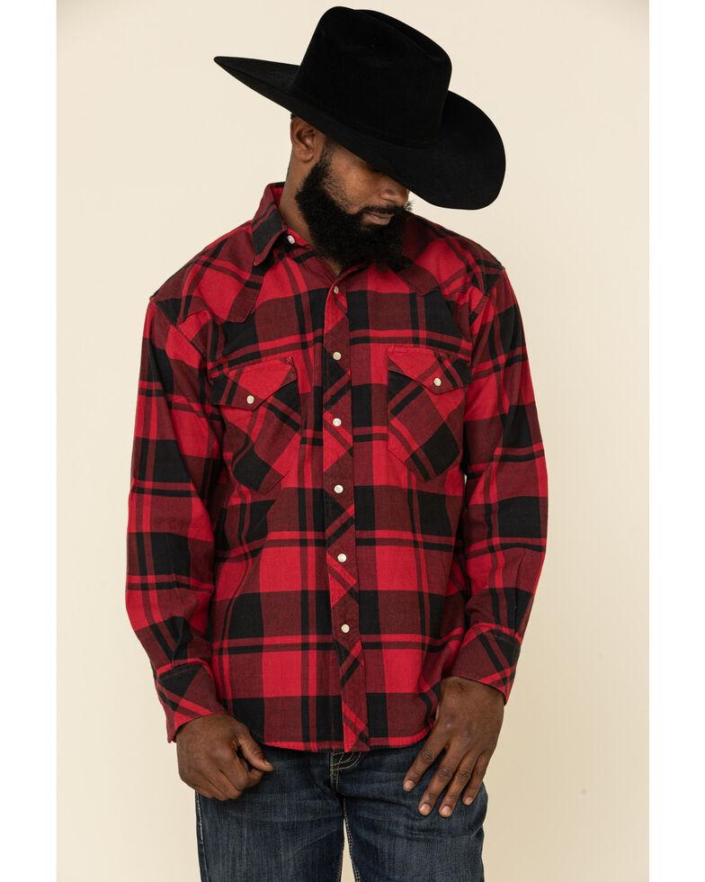 Resistol Men's Red Lumberjack Large Check Plaid Long Sleeve Western Shirt , Red, hi-res