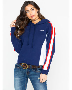 Levi's Women's Colorblock Striped Maritime Hoodie , Navy, hi-res