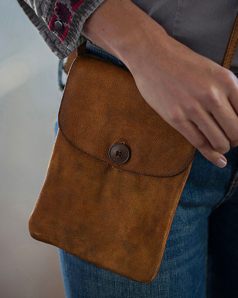 Ryan Michael Women's Tan Cross Body Leather Bag , Tan, hi-res