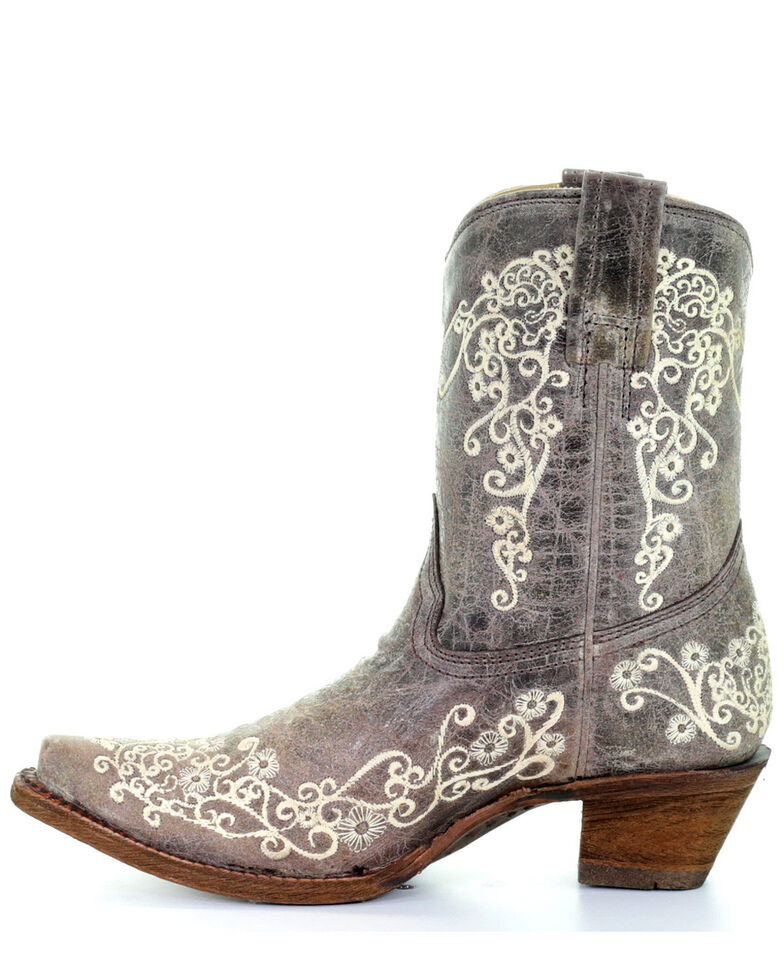 Corral Crater Embroidery Boots - Snip Toe, Brown, hi-res