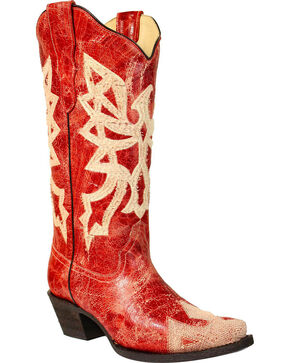 Corral Women's Red Embroidered Western Boots - Snip Toe, Red, hi-res