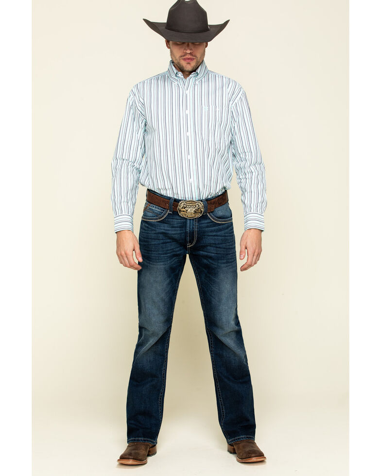 George Strait By Wrangler Men's Turquoise Stripe Long Sleeve Western Shirt , Turquoise, hi-res