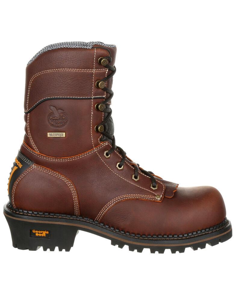 """Georgia Boot Men's Amp LT 9"""" Waterproof Logger Boots - Round Toe, Brown, hi-res"""