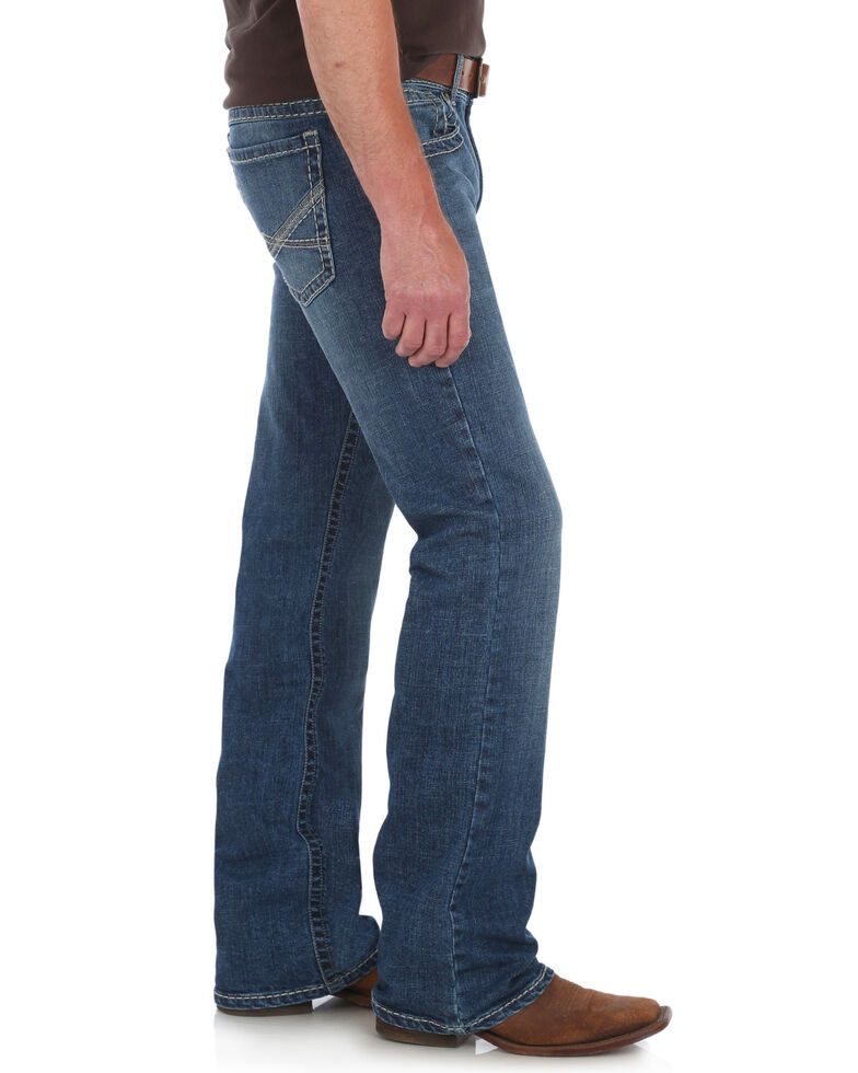 Rock 47 by Wrangler Men's Slim Boot Cut Jeans , Blue, hi-res