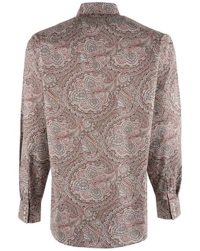 Stetson Men's Red Ornate Paisley Print Long Sleeve Snap Western Shirt , Red, hi-res