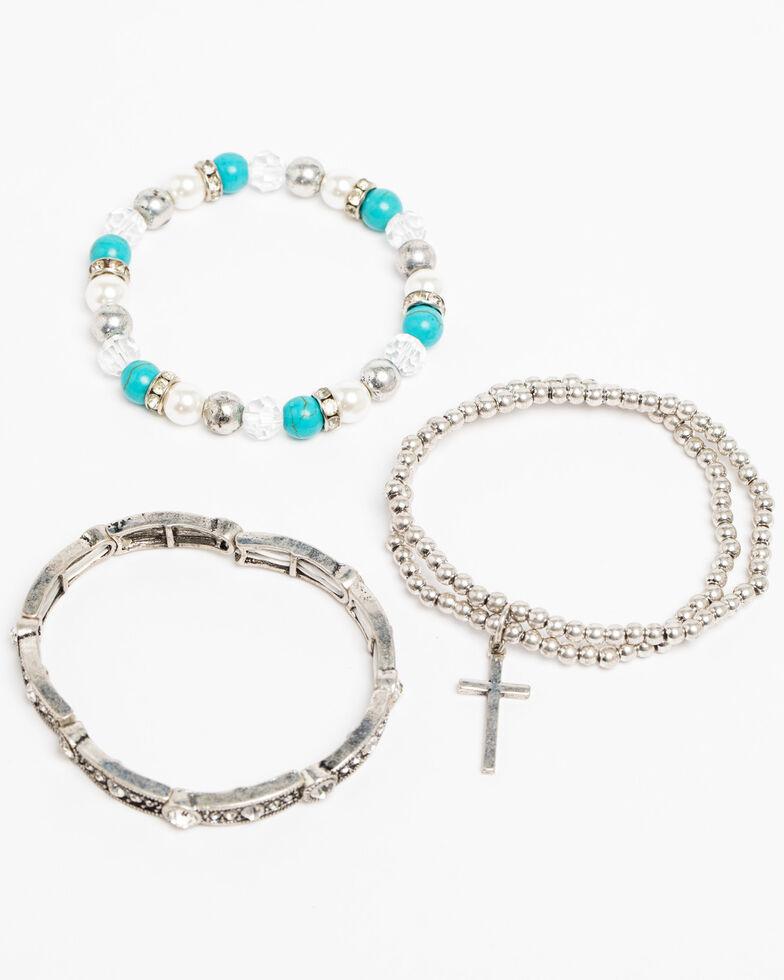 Shyanne Women's Crystal Cross Turquoise Pearl Beaded 3 Pack Bracelet Set, Silver, hi-res