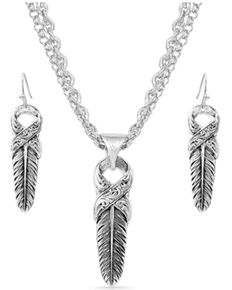Montana Silversmiths Women's Strength Within Feather Jewelry Set, Silver, hi-res
