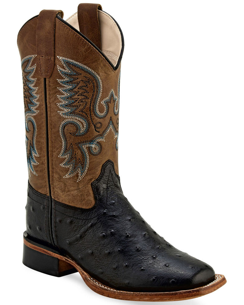 Old West Youth Boys' Faux Ostrich Black Western Boots - Wide Square, Black, hi-res