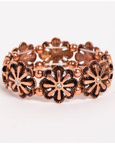 Shyanne Women's Texas Rose Flower Burst Stretch Bracelet, Rust Copper, hi-res