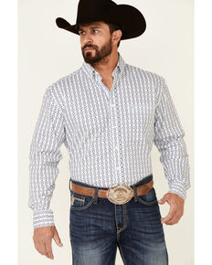 Rough Stock By Panhandle Men's Blue Geo Print Long Sleeve Button-Down Western Shirt , Blue, hi-res