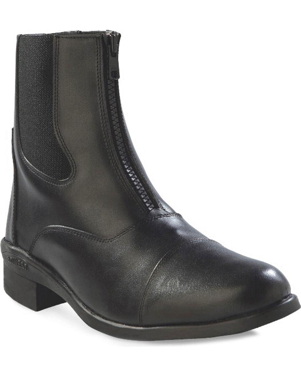 Old West Women's Chelsea Zipper Short Riding Boots, Black, hi-res
