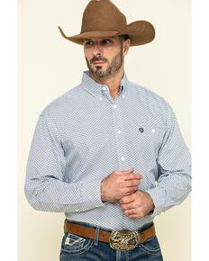 George Strait By Wrangler Men's Purple Small Circle Geo Print Long Sleeve Western Shirt , Purple, hi-res