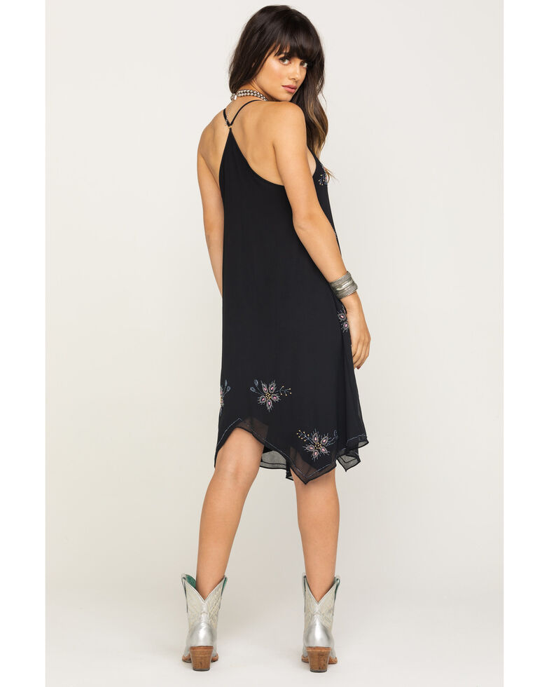 Angie Women's Black Beaded Hanky Hem Dress, Black, hi-res