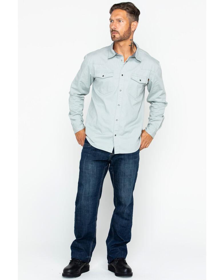 Hawx Men's Solid Twill Snap Long Sleeve Work Shirt , Grey, hi-res
