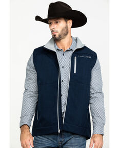 Cinch Men's Navy Textured Bonded Vest , Navy, hi-res