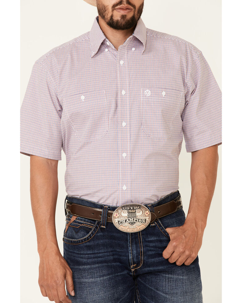 George Strait By Wrangler Men's Red Checkered Short Sleeve Button-Down Western Shirt , Red, hi-res