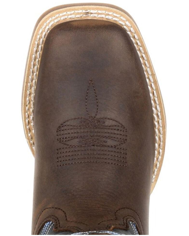 Durango Boys' Lil Rebel Pro Big Western Boots - Square Toe, Brown/blue, hi-res