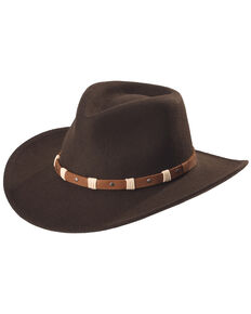Black Creek Men's Cordova Crushable Wool Felt Hat, Cordovan, hi-res