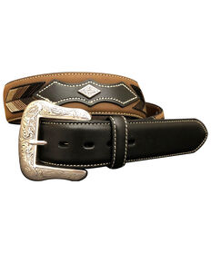 G-Bar-D Men's Brown Arrow Lacing Leather Belt , Brown, hi-res