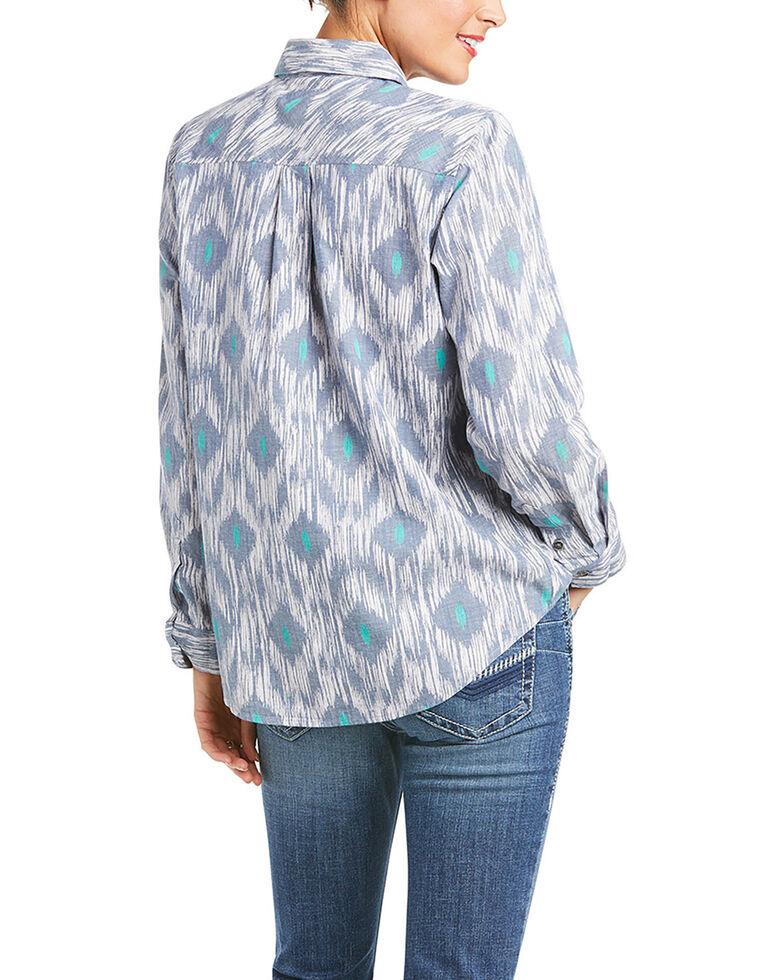 Ariat Women's R.E.A.L Billie Jean Aztec Chambray Long Sleeve Button Western Shirt, Blue, hi-res