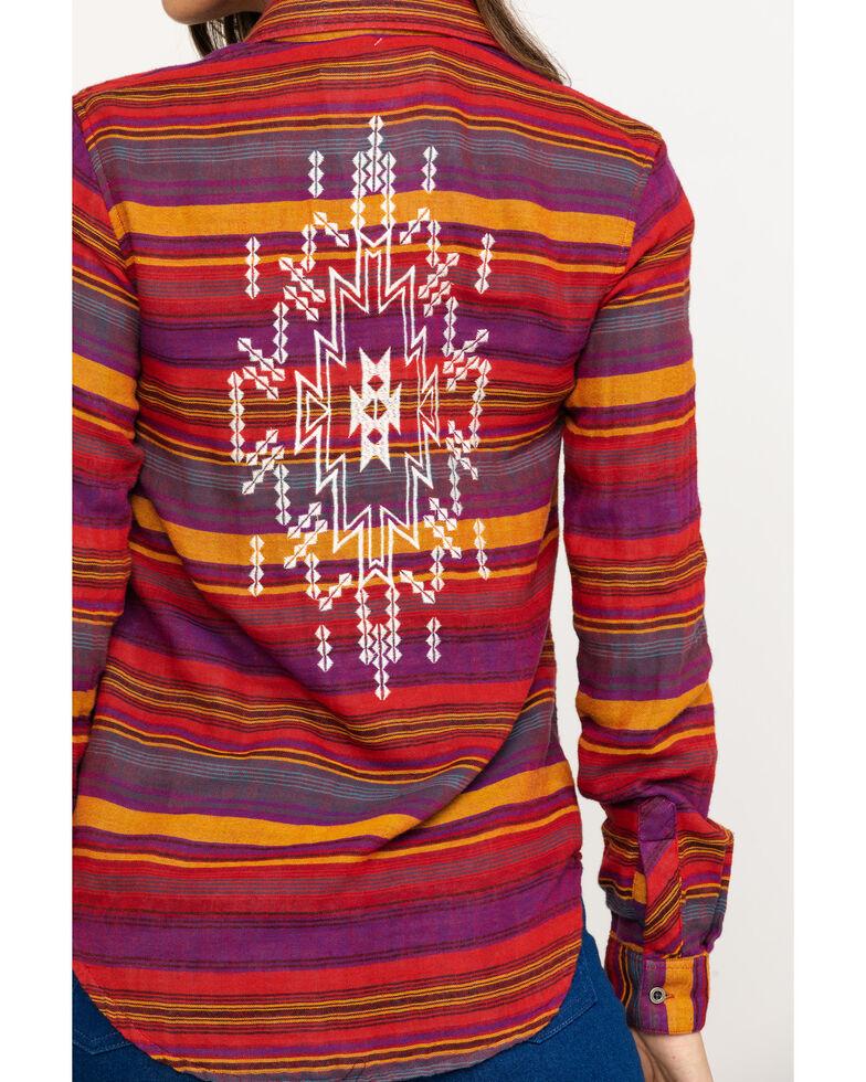 Rock & Roll Cowgirl Women's Rust Serape Stripe Aztec Embroidered Long Sleeve Western Shirt , Multi, hi-res