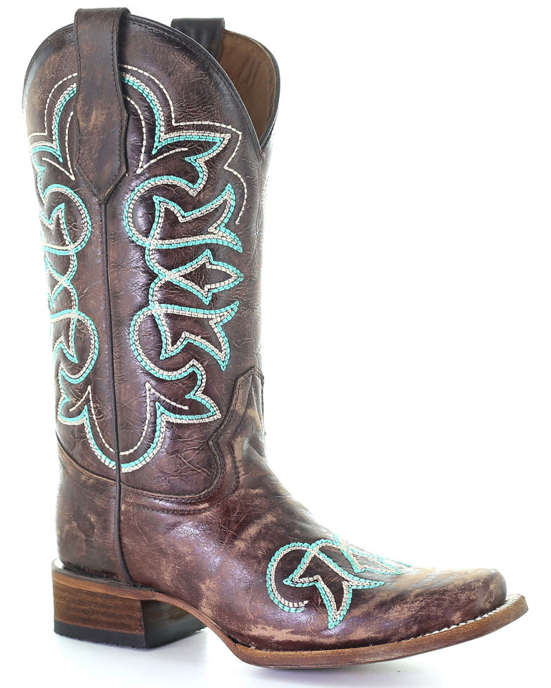 Circle G Women's Turquoise Embroidery Western Boots - Square Toe, Brown, hi-res