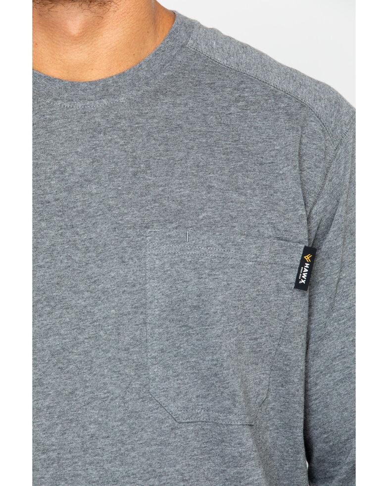 Hawx Men's Solid Pocket Crew Long Sleeve Work T-Shirt , Heather Grey, hi-res