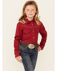 Shyanne Girls' Solid Red Rhinestone Long Sleeve Button-Down Western Shirt , Red, hi-res