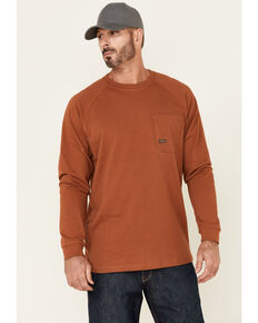 Ariat Men's Copper Rebar Cotton Strong Brand Flag Graphic Long Sleeve Work Pocket T-Shirt , Gold, hi-res