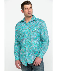 Rough Stock By Panhandle Men's Verano Antique Print Long Sleeve Western Shirt , Turquoise, hi-res