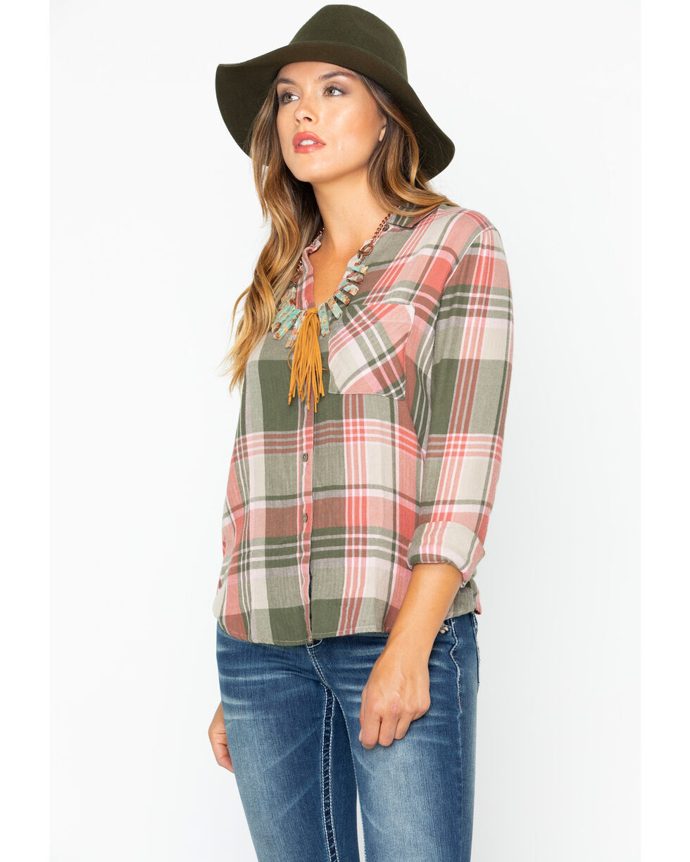 Shyanne Women's Button Up Plaid Flannel Shirt , Olive, hi-res