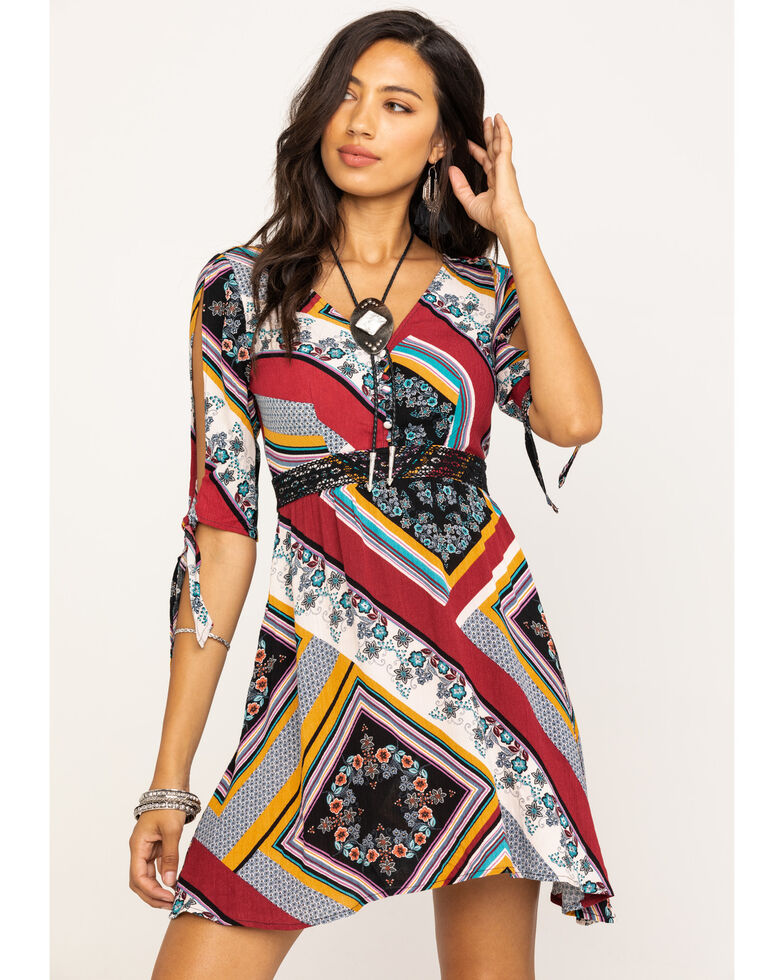 Shyanne Women's Floral Patchwork Cold Shoulder Dress, Multi, hi-res
