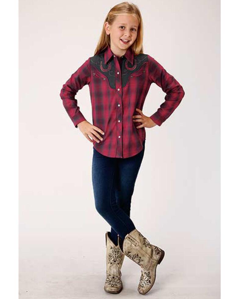 Roper Girls' Red Plaid Horseshoe Long Sleeve Western Shirt, Red, hi-res
