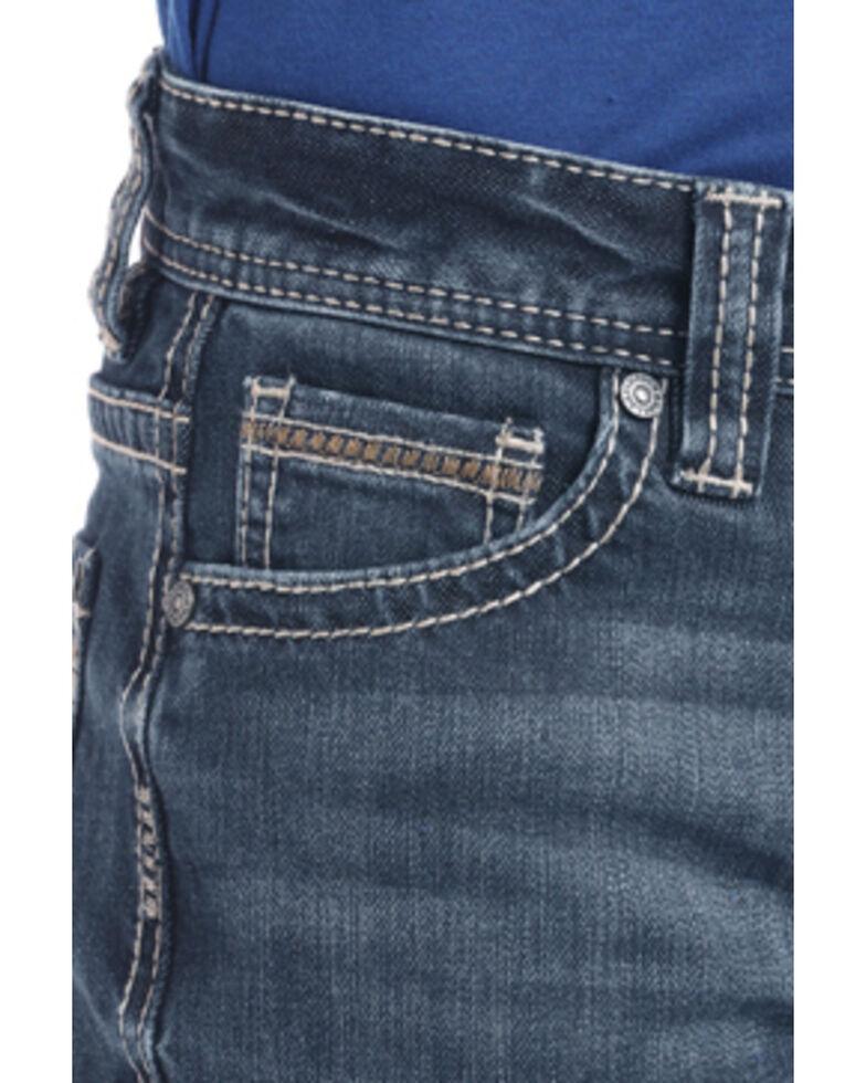 Rock & Roll Cowboy Boys' Diamond Pocket Dark Bootcut Jeans , Blue, hi-res
