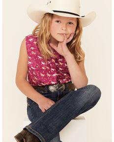 Shyanne Girls' Fuchsia Horse Print Tie-Front Sleeveless Snap Western Shirt , Fuscia, hi-res