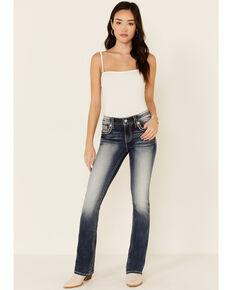 Miss Me Women's Flutter Wing Chloe Bootcut Jeans, Blue, hi-res