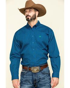 Cinch Men's Royal Blue Geo Print Button Long Sleeve Western Shirt , Royal Blue, hi-res