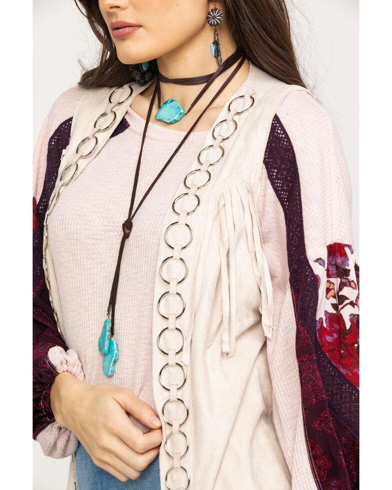 Vocal Women's Metal Ring Fringe Vest, Sand, hi-res