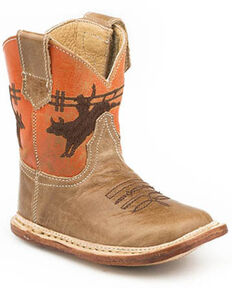 Roper Infant Girls' Waxy Tan Western Boots - Square Toe, Tan, hi-res