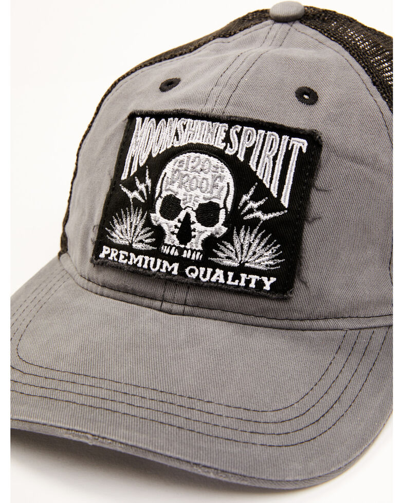 Moonshine Spirit Men's Tequila Skull Patch Mesh Back Ball Cap , Charcoal, hi-res