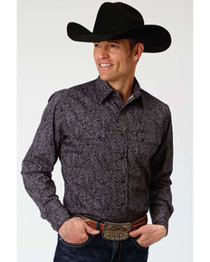 Roper Men's West Made Black Paisley Print Long Sleeve Western Shirt, Black, hi-res