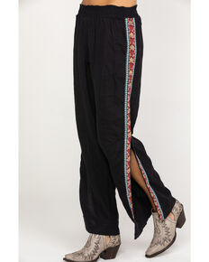 Johnny Was Women's Ezra Side Slit Plazzo Pants, Black, hi-res