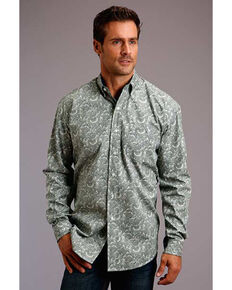 Stetson Men's Tooling Paisley Print Long Sleeve Western Shirt , Green, hi-res