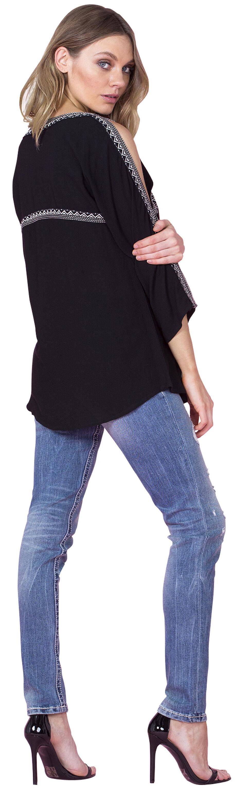Miss Me Women's Black Open Shoulder Swing Top, Black, hi-res